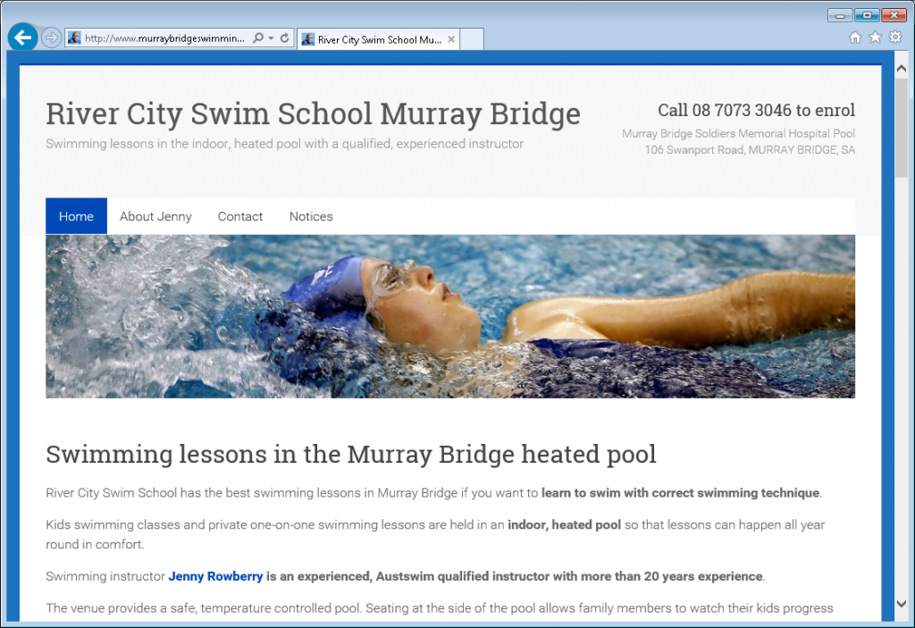 Murray bridge swimming business website created by Anthea Rowberry web design